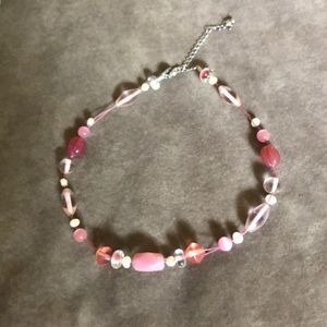 Lia Sophia necklace- pink beads